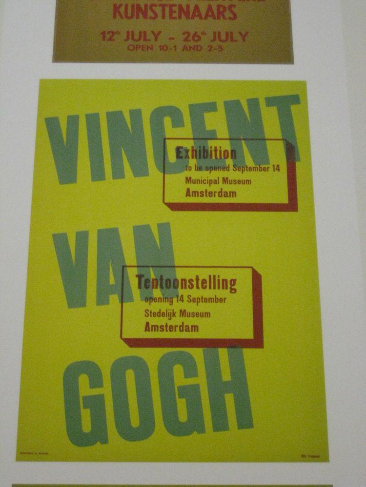 "Otto Treumann (b. 1919 Fürth, d. 2001 Weesp). Poster for ""Vincent van Gogh,"" 1945."