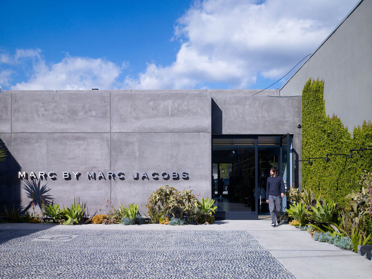 """Jaklitsch's Marc by Marc Jacobs shop on Melrose in Los Angeles draws on the stripmall tradition, though opens up into more of a loft style interior. Photograph by <a href=""""http://www.johnlindenphotographs.com/"""">John Linden</a>."""