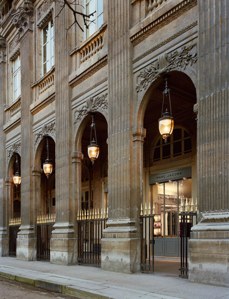 """The clean, modern interior of the Parisian Marc Jacobs store is belied by its decidedly trad facade of the Palais-Royal in the center of town. Photograph by <a href=""""http://www.warcholphotography.com/"""">Paul Warchol</a>."""