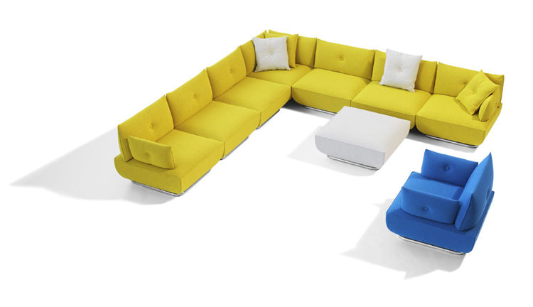 Dunder is a sectional sofa and an easy chair range designed by Stefan Borelius. We love the bright colors, playful design, and clever ability to mix and match your own sofa configuration piece by piece.