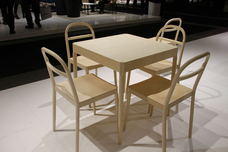 The Österlen table and chair, by Inga Sempé, glimpsed on the show floor.