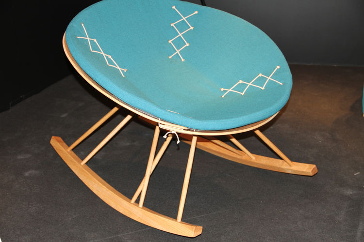 Clover, by Bergen National Academy of the Arts student Hanne Kari Ravndal. This rocking chair features an oak base and a removable wool cushion.