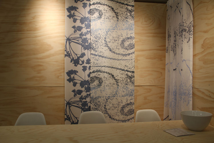 "Hand-printed textiles from Danish company <a href=""http://www.kurage.com"">Kurage</a>."