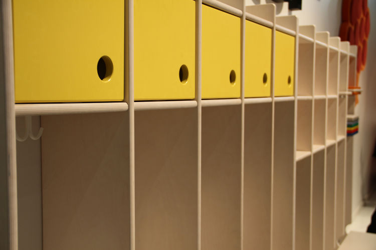 "Cozy cubby form, accented by—what else?—yellow cabinets, by kids' furniture purveyor <a href=""http://www.lekolar.no/templates/StartPage1.aspx?id=612"">Lekolar</a>."