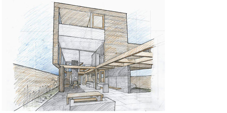 Drawing of the Butler House in Portland, Oregon, designed by PATH Architecture. The house will be included on the tour.