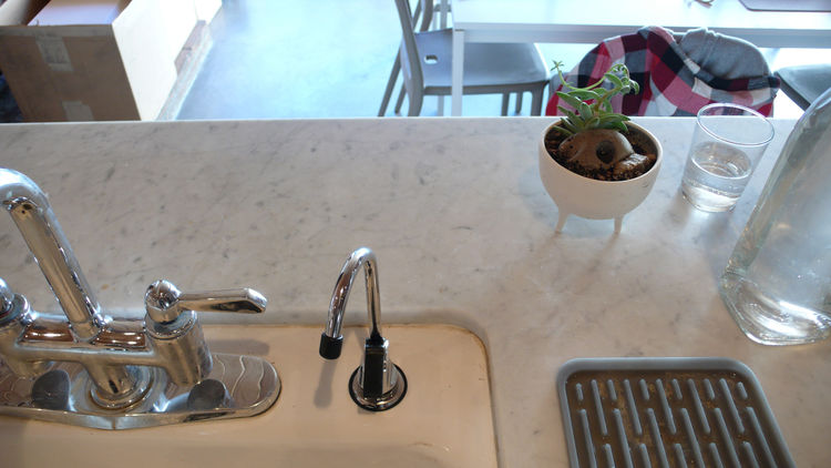 This is our favorite recent improvement: a water filter faucet.