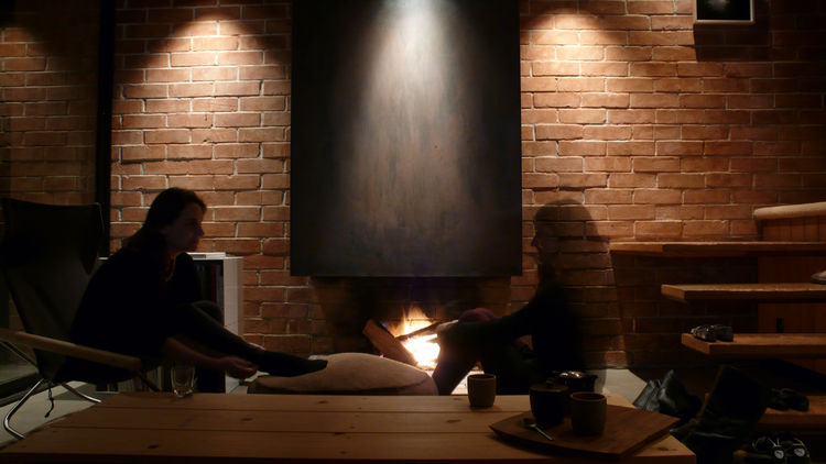 At night we sit by the fire. There is something primitively enjoyable about sitting close to a fire; it's a multi-sensory ambient experience.
