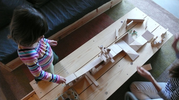 At the moment we are into building marble mazes and ramp structures, and setting up obstacles to knock down.