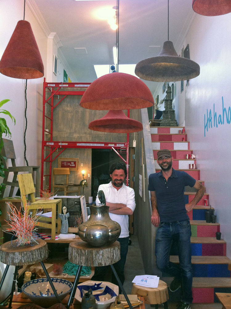 A source for great handcrafted objects and furniture, many of them locally made, is the gallery/shop Specific, owned and curated by Brooks Hudson Thomas. This tiny shop is full of amazing things that satisfy the senses. Here are Alan and Brooks amid a lan