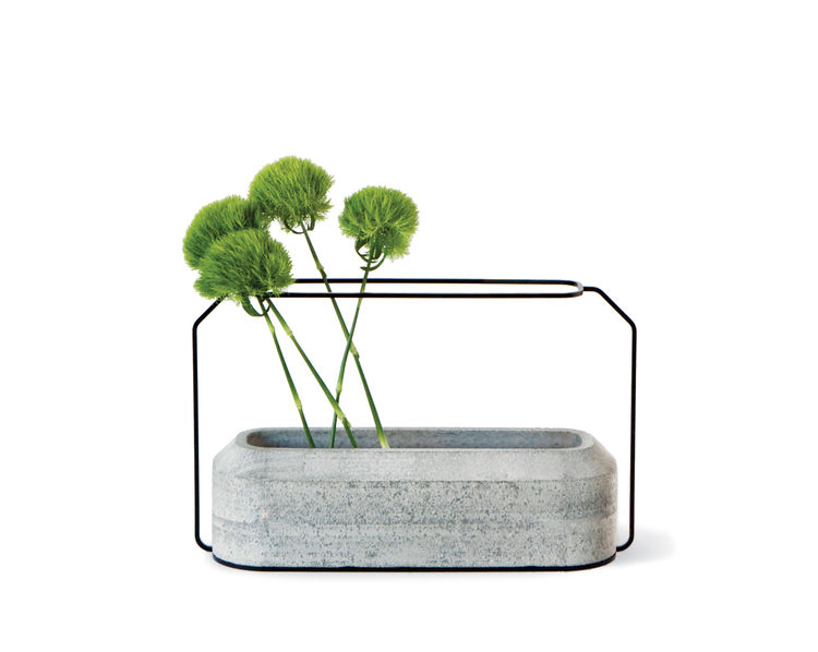 concrete and steel Weight vases by THINKK Studio