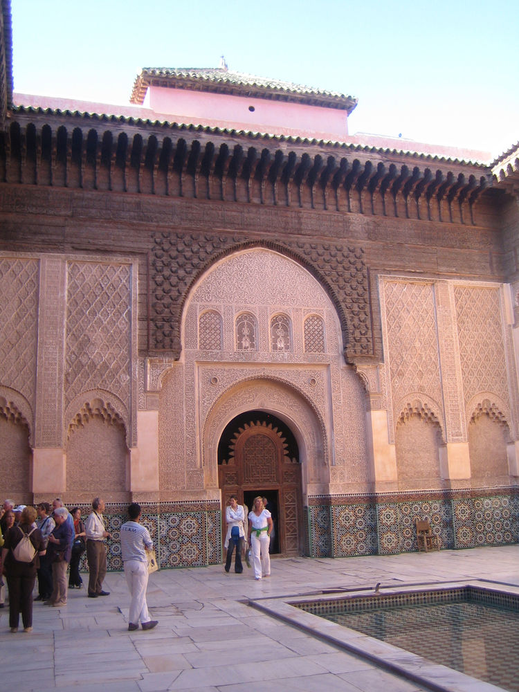 Probably the most astounding architecture I saw on the whole trip was here at the Madrasa Ben Youssef, a Koranic school that dates from the middle of the 16th century. The courtyard was as astounding as the small cells in which the students slept and the