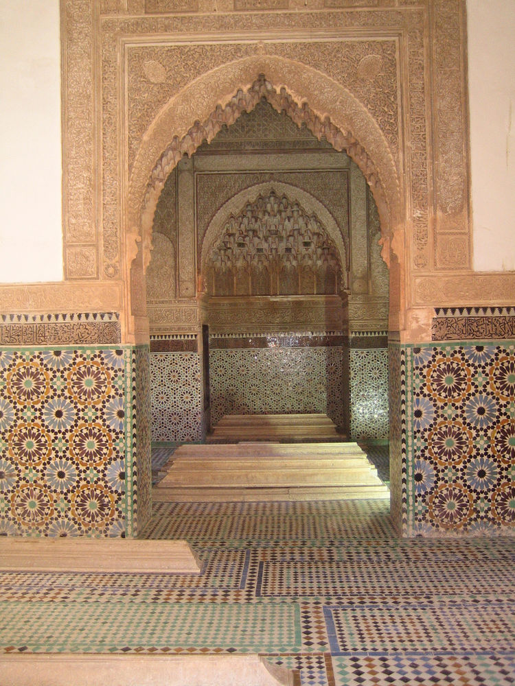 Here's another pretty impressive mosaic display, this time at the Saadian tombs. Built contemporaneously with the Madrasa Ben Youssef, this complex of buildings and courtyards houses the remains of the Saadian dynasty. The first recorded burial came in th