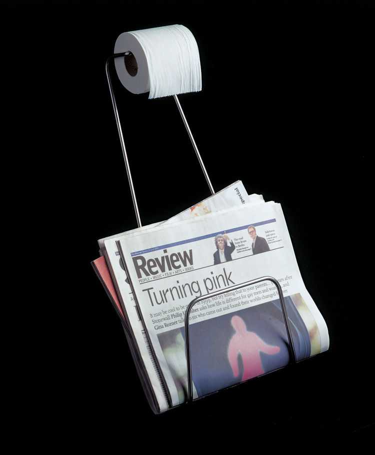 The magazine rack/toilet paper holder was made for Habitat.