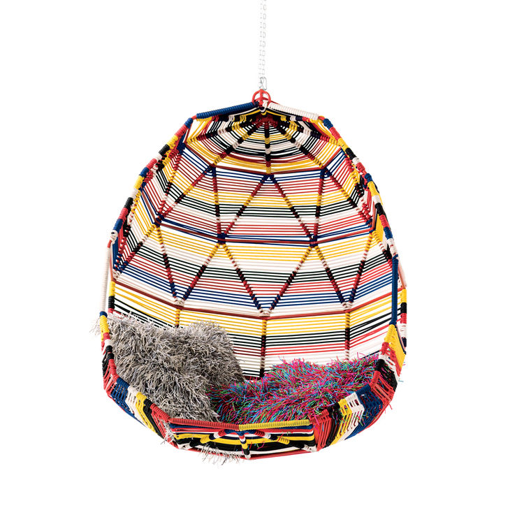Bright, geodesic cocoon chair