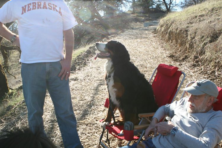 Vinny supervises from his lawn chair with Bill (in the Nebraska t-shirt) and Bill's father (seated).