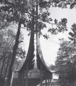 """Victor Lundy's Unitarian Church in Westport, Connecticut, which is nicknamed the """"New Ship Church"""". Image courtesy George Cserna."""