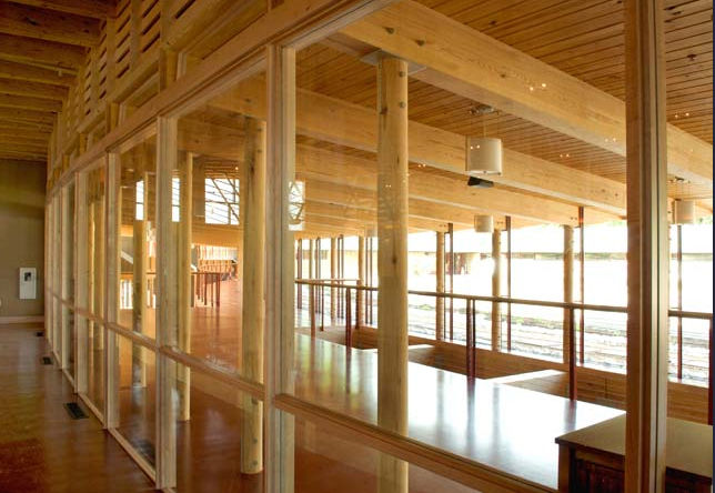 The interior of the Unitarian Meeting House, designed by Frank Lloyd Wright, in Madison, Wisconsin. Image © The Kubala Washatko Architects, Inc.