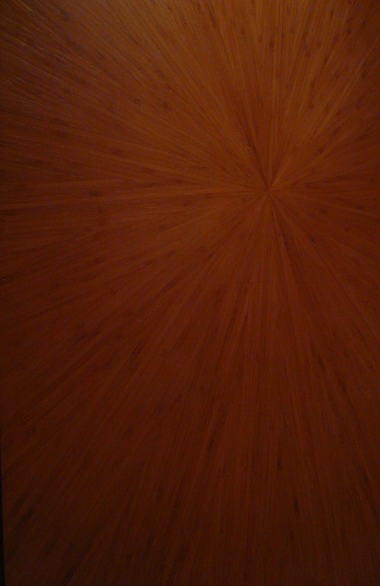 Fu uses bamboo, a traditional Asian material, in creative ways throughout the hotel. Here, a detail of a closet door, clad in a complex radial pattern.