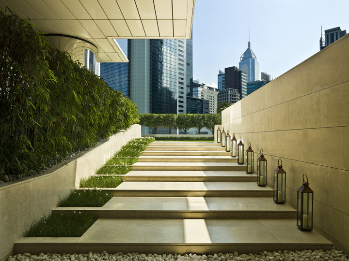 Located on the sixth floor, just off the small lobby, is a limestone stairway that steps its way up to a lush grass lawn, where guests can relax on bean bag chairs and sip cocktails amid sculpted topiary box-hedges.