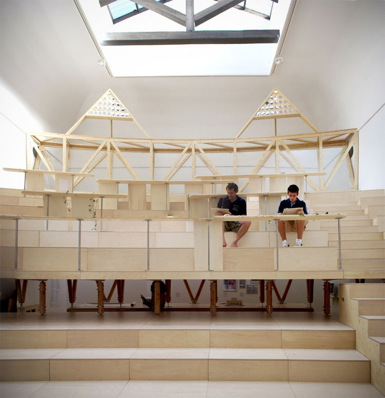 """The British christened their pavilion 'Villa Frankenstein,' in reference to the work of John Ruskin, British Victorian social critic and Venetian architecture historian. This """"Stadium of Close Looking"""" is, in fact, a 1/10 scale model of a section of the"""