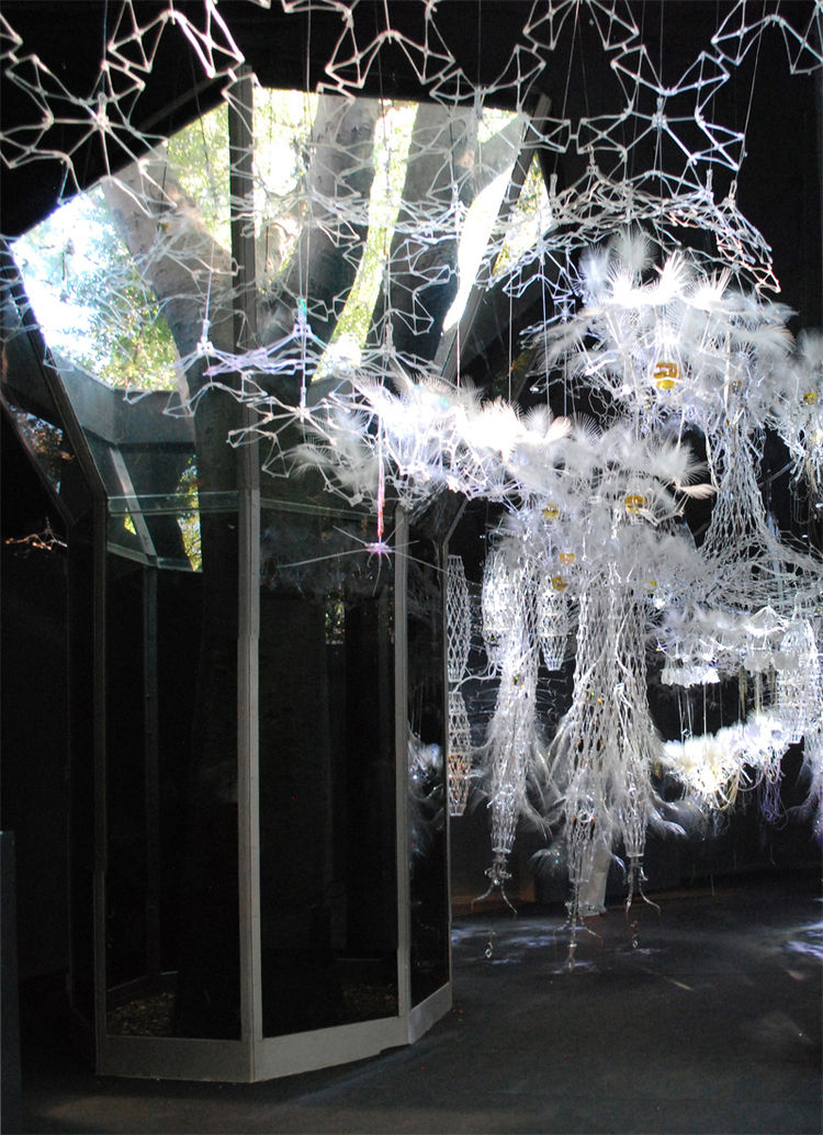 Canada's 'Hylozoic Ground' is a sensor-covered installation that almost mimicks a robot forest. It is a geotextile suspended from the ceiling, with cilia-like feathers and hairs that rustle and breathe eerily around anyone who dares to meander through.