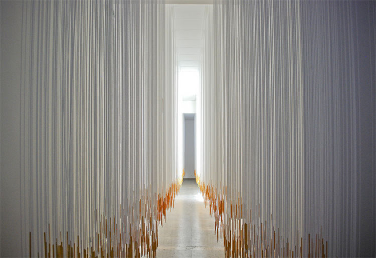 The most innovative use of ordinary materials was surely the Hungarian pavilion, which took yellow school pencils and dangled them from white elastic ropes from the ceiling, creating a breathtaking and interactive installation.