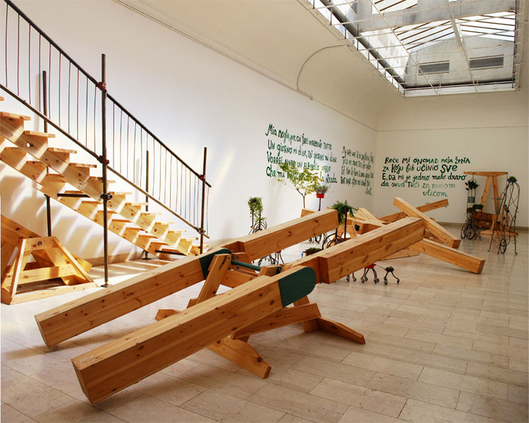 Serbia's pavilion was certainly one of the most playful, welcoming the visitor with seesaws and potted plants in a sun-drenched atrium, and impish poetry scrawled across the walls. The Skart collective designed the Plant-o-biles, and Ban Drvo produced the
