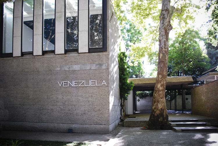 Designed by architect Carlo Scarpa, whose works are ubiquitous in the Veneto region of Italy, the Venezuelan pavilion was realized in 1956 with Scarpa's signature poetry of rough concrete and marble slabs. Sadly, it was home to no exhibition during this B