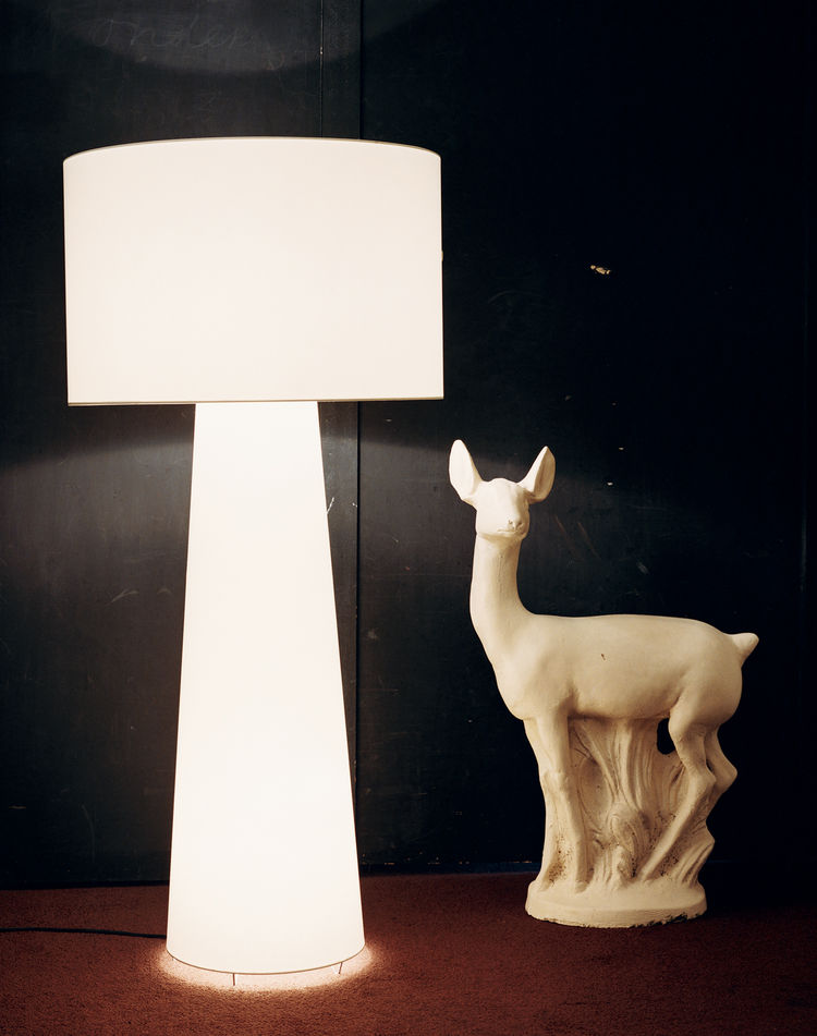 A luminous Big Shadow in white casts an ambient glow against a wall coated with blackboard paint and a chocolate brown carpet. The origin of the plaster deer figure has been forgotten. It was acquired as a possible inspiration source and has moved around