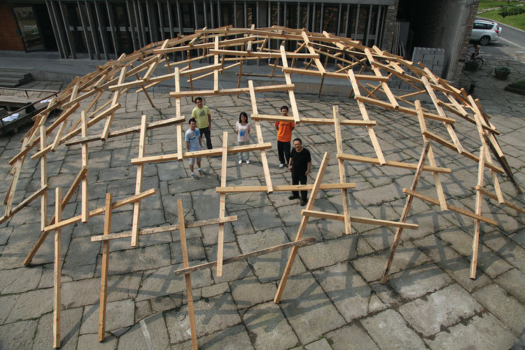 This photo shows a test run of the installation Decay of the Dome that Amateur Architecture Studio mounted at the 12th Annual Architecture Exhibition in Venice, Italy, in 2012. Photo by Lu Wenyu courtesy of Amateur Architecture Studio.