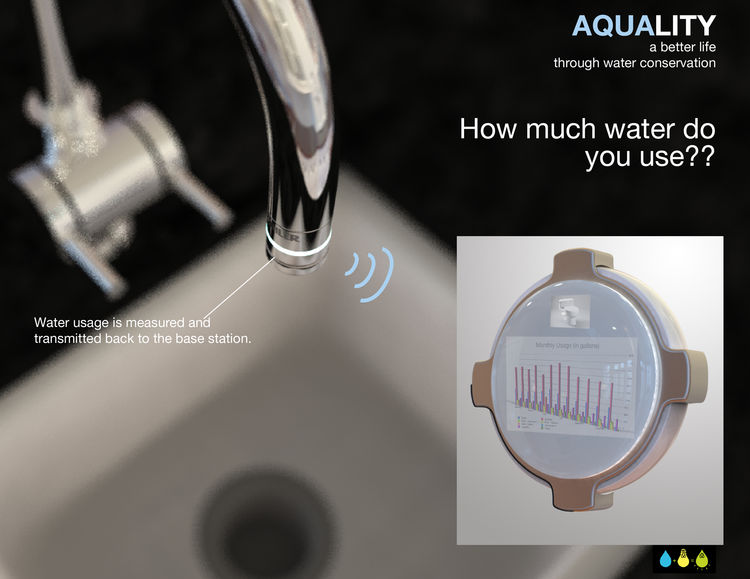 Aquality<br /><br />  Submitted by Timothy Daw and Jake Bjeldanes, Industrial Designers<br /><br />  Description: water tracking system that syncs to computers to tell consumers how much water they use<br /><br />   Designers' statement:<br /><br />   'Th