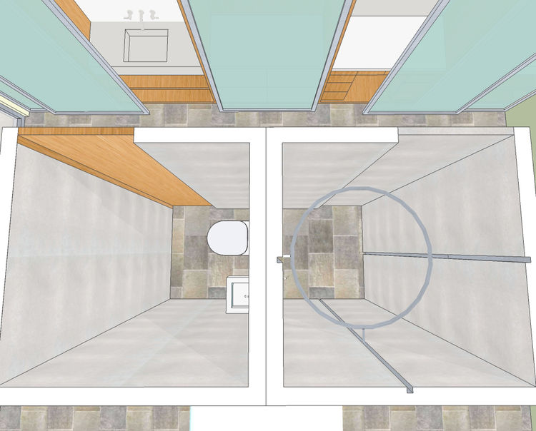 """The Shower Ring and the Bath Module<br /><br /> Submitted by: Claudia Skylar, Designer<br /><br /> Description: a modular shower unit that dispenses cleanser and water from a ring that moves up and down around the users body  """"There has been significant p"""