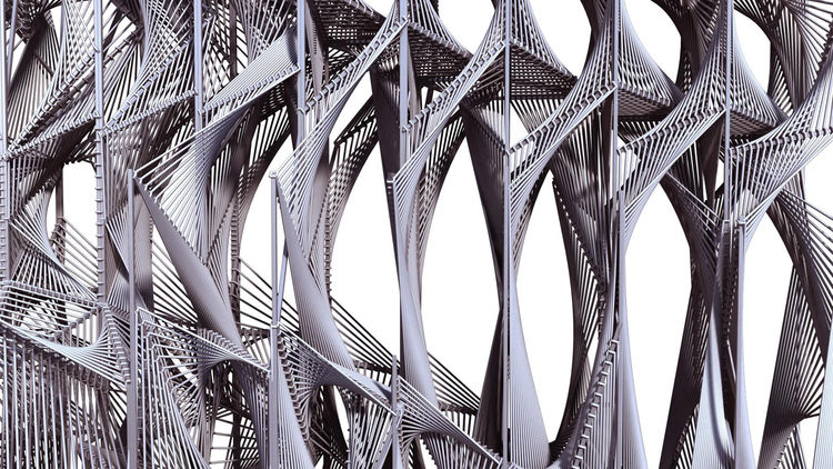 Here's a close-up elevation view of <i>Screenplay</i>. The rope is looped around the steel frame to create a dense, continuous surface.