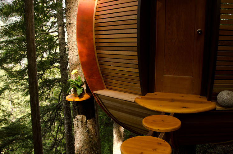 """All the main siding was made from a clear cedar that was once the interior of a sauna. """"The cedar was in pristine condition because it was indoors all its life,"""" says Allen. He received the cedar all busted up because wreckers had ripped it out of the sau"""
