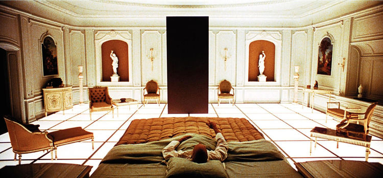 <em>2001: A Space Odyssey</em> (1968), with sets created by production designers Harry Lange, Ernest Archer, and Anthony Masters, reflect the contemporary design trends of the 1960s. In this shot, we see Louis XVI works contrasting with nonlinear pieces t