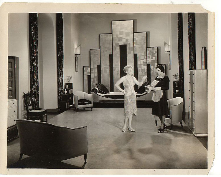 """<em>Our Dancing Daughters</em>, 1926, was one of the first films to begin showcasing the new Art Deco style, an aesthetic rooted in symmetrical geometric patterns that came to define the glamorous life of the American elite. From the book: """"[MGM's Art Dir"""