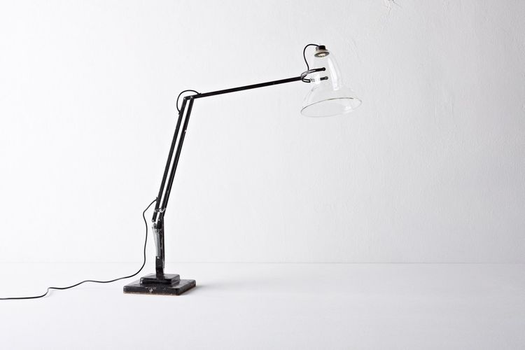 """Wilson also updated the classic British Anglepoise lamp with a fine transparent glass lampshade and a nearly invisible low-power LED light source. He'll start producing this in a limited-edition soon, with models available on <a href=""""http://www.henry-wil"""