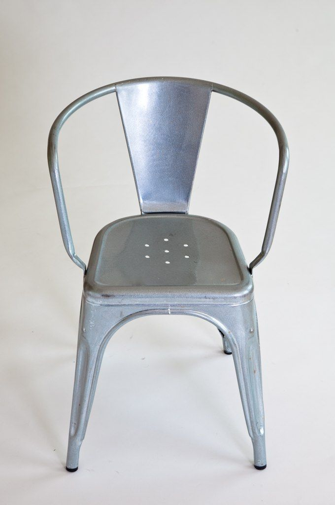 """I am particularly fond of this experiment—an addition to the iconic galvanized Tolix A56 chair, designed by Xavier Pauchard for Tolix. """"The 'A' chair was born out of an understanding of material and is a great example of technique and industrial knowledge"""