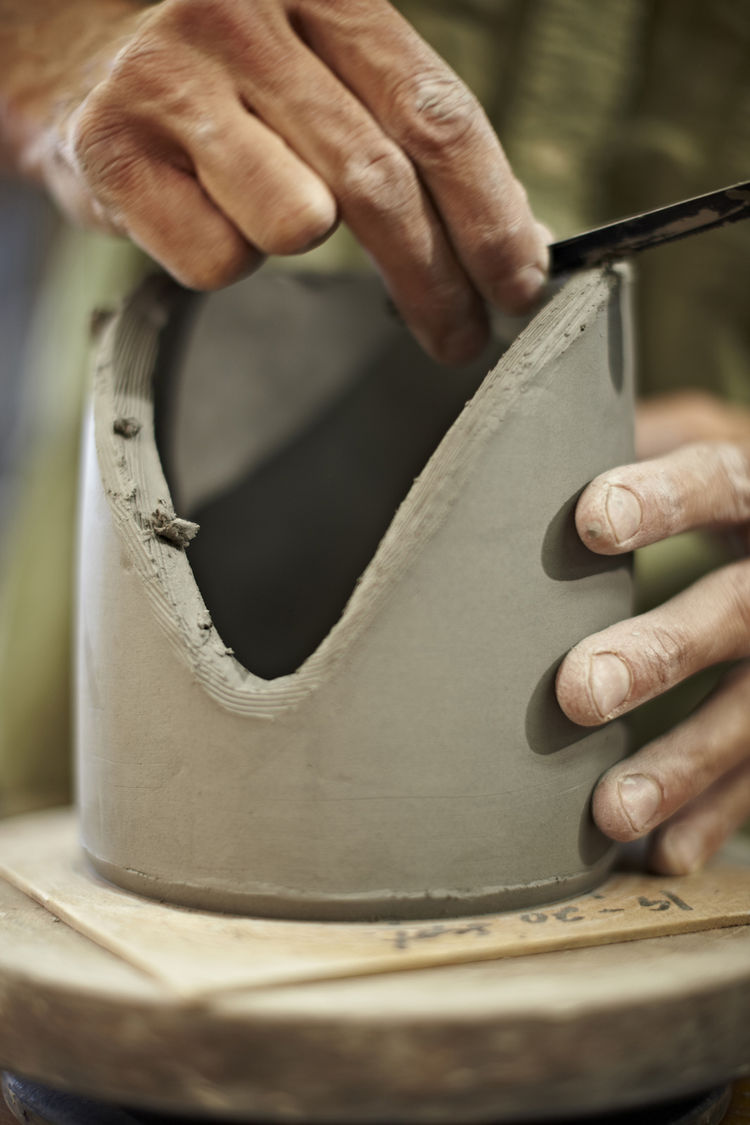 Once he'd made the chiller's cylinder, Wisner sculpted the object with a cutting blade.