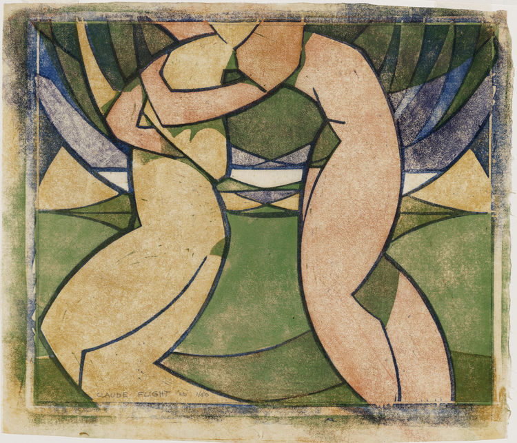 "Perhaps the most clear nod to the aesthetic advances in painting in the 20s comes from Claude Flight's 1926 color linocut ""Spring, from The Four Seasons."""