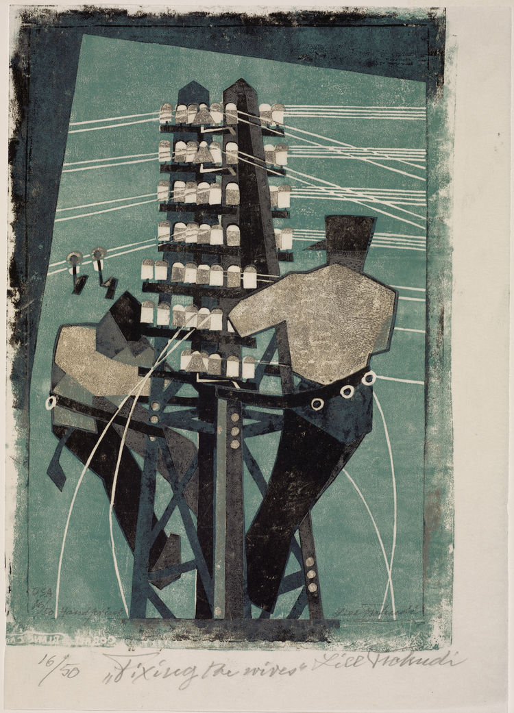 "Though the majority of these prints concern themselves with war machines, zooming cars and whirling pleasure machines, I loved Lill Tschudi's examination of where all that power comes from. Here ""Fixing the Wires"" gives us that same jazzy brand of abstrac"