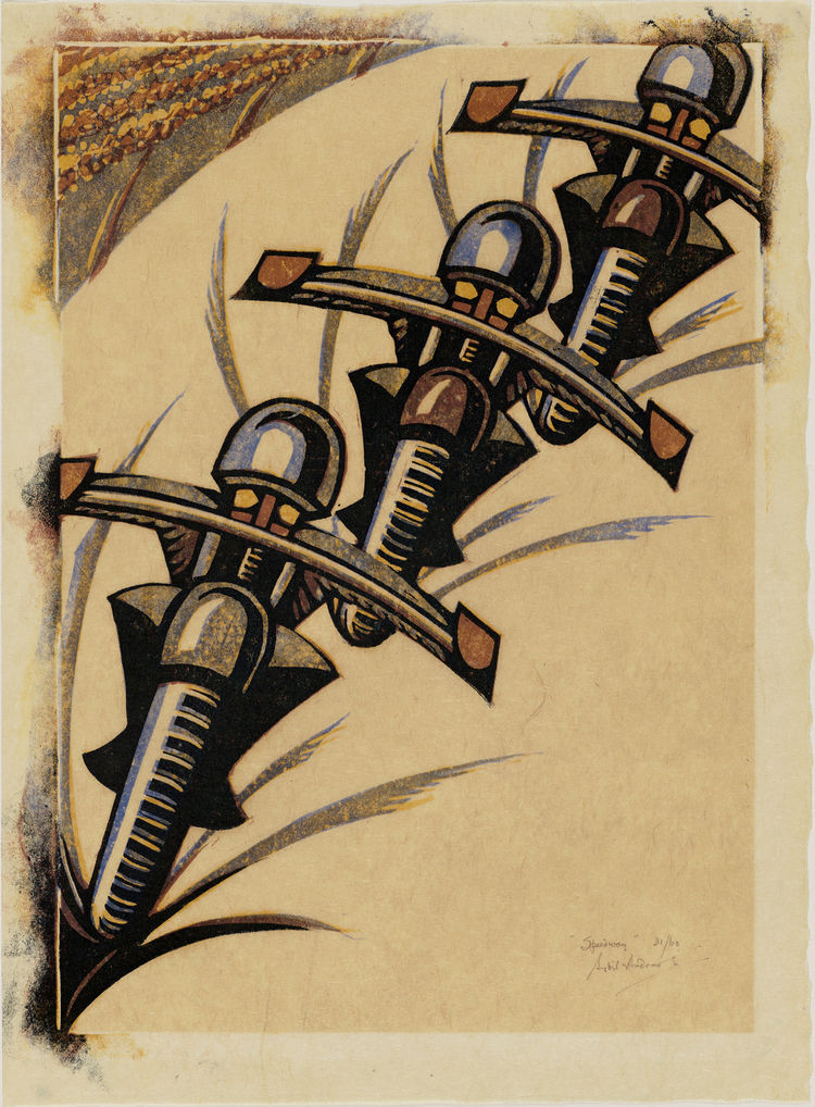 "Given how indebted the British prints in the show are to both cubism and Italian futurism, many of them deal overtly with speed. Here in ""Speedway"" by Sybil Andrews from 1934 we see a trio of motorcyclists nearly transformed into giant insects by their ca"