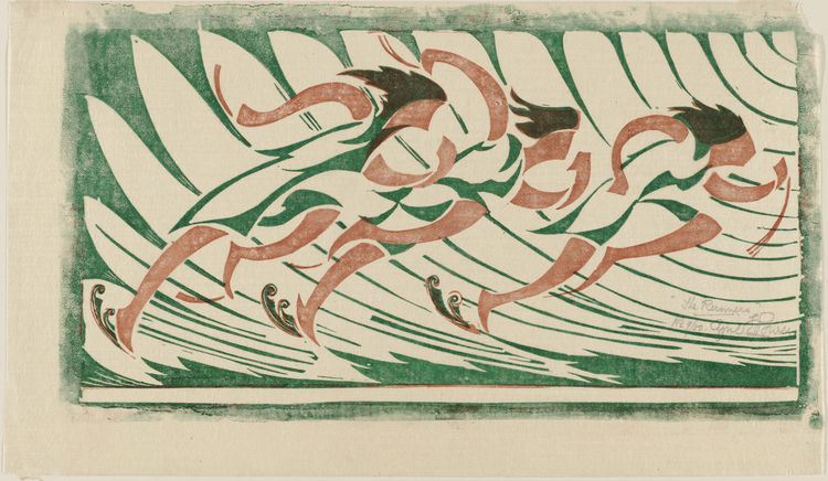 """The Runners"" by Claude Flight is one of the many prints devoted to sports. Most, like this one, drew their abstracted, active geometry from repeated images of athletes. Though here it's runners, other prints in the show so ice skater, rowers and wrestler"