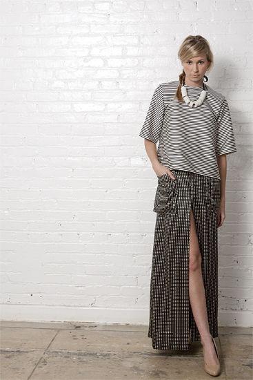 A shirt and floor-length skirt by Isoda. Photo by Jordan Duvall.