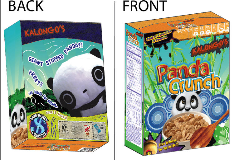 Panda Crunch, a cereal box design created by Montclair State University graphic design student Samuel Saez.