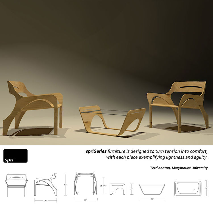 The SpriSeries of plywood furnishings, by Marymount University interior design student Terri Ashton.