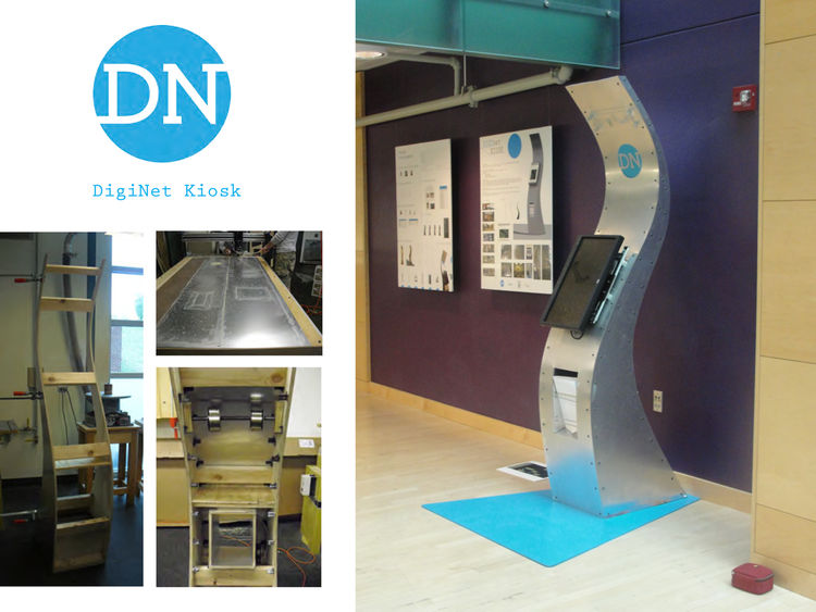 DigiNet Kiosk, of wood construction and clad in aluminum, by Penn State University students Will Bunk, Architecture, John Gonzalez, Architecture, and Kayvon Mirdamadi, Mechanical Engineering.