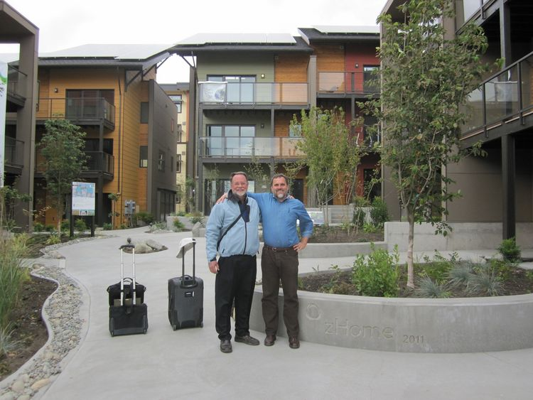 We had several green building luminaries stay overnight at zHome on their way through town, including David Johnston, author of Toward a Zero Energy House, and Alex Wilson, Editor-in-Chief of Environmental Building News. Here I wish David goodbye after he