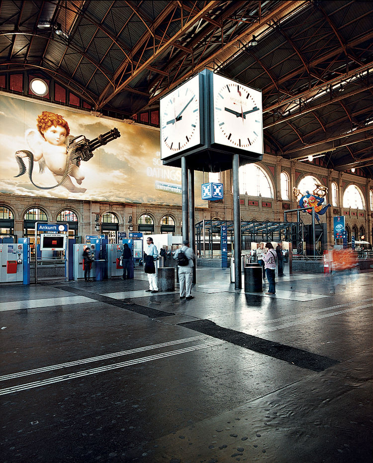 Precision timekeeping, a central design element at the main station, governs the trains.