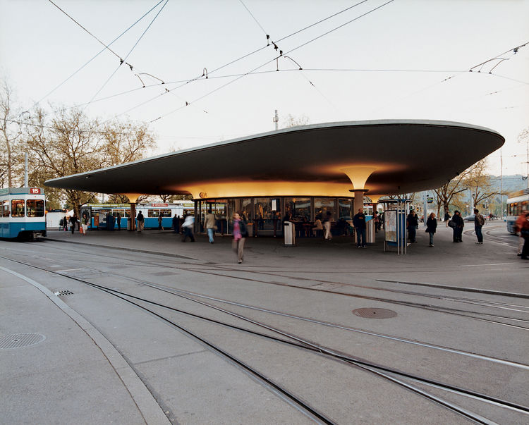 Organic design characterizes the tram station at Bellevue, a popular square and site of the opera house. Zurich's trams are hailed as a model for an economic, environment-friendly urban transport system.